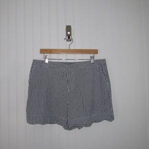 Cynthia Rowley Gingham Scalloped Hem Shorts